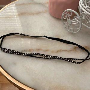 Double Black Gold Studded Headband